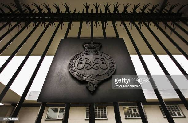 A crest of The Grenadier Guards is seen outside Chelsea Barracks on September 6 2005 in London The Secretary of State for Defence John Reid will...