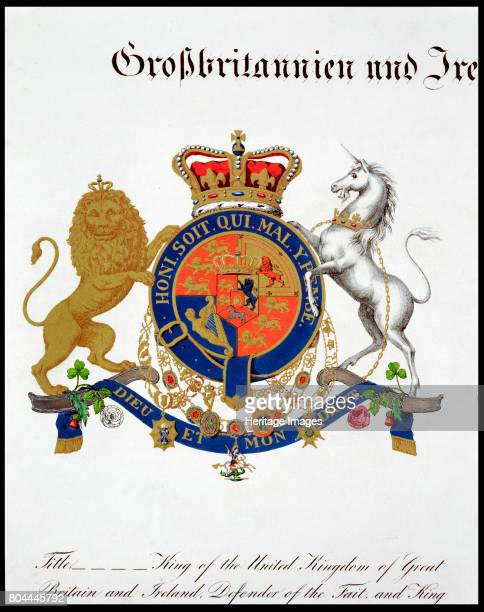 Crest of the King of the United Kingdom of Great Britain and Ireland and Hanover 19th century Artist Unknown