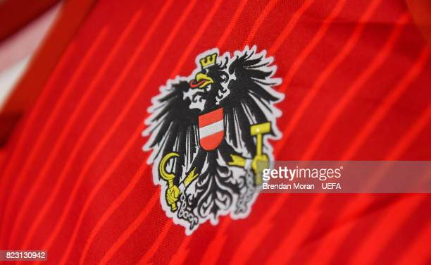 Crest on a jersey in the Austria dressing room prior to the UEFA Women's EURO 2017 Group C match between Iceland and Austria at Sparta Stadion on...