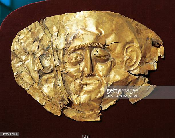 CretanMycenaean civilization 17th16th century bC Funerary mask From the royal tombs in Mycenae