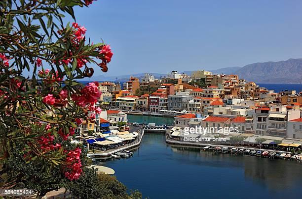 Crete Agios Nikolaos look at the city centre in the Voulismeni lake