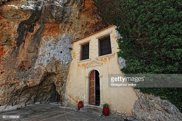 Crete cloister in the mountains near Kstenstrasse after Agios Nikolaos Moni Faneromenis minster former military cloister