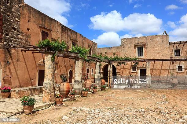 Crete cloister of Arkadi cloister inner courtyard