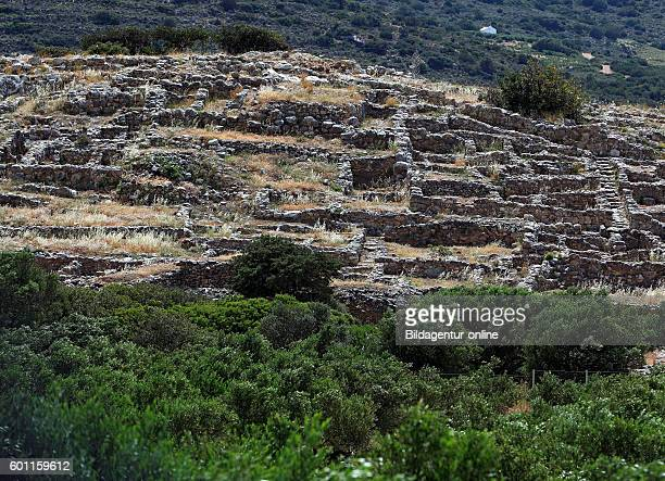 Crete Gournia small antique port from minoischer time archaeological excavation site