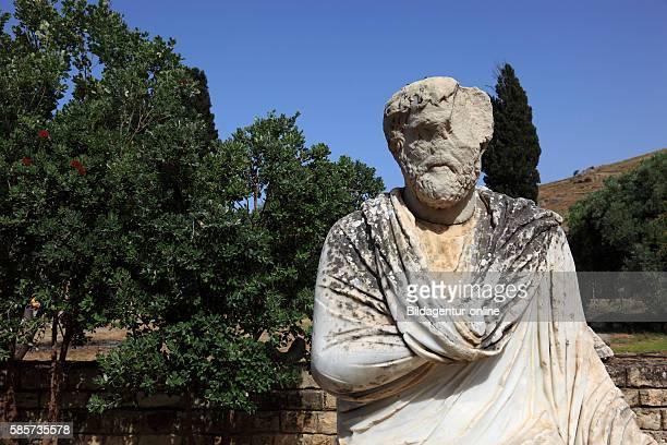 Crete GreekRoman excavation site Gortis statue on the excavation area