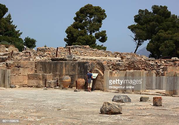 Crete in the Mionische palace excavation site Festos Faistos Phaistos amphoras sound jugs part of the central court