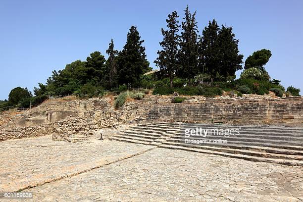 Crete in the Mionische palace excavation site Festos Faistos Phaistos part of the theatre in the west court