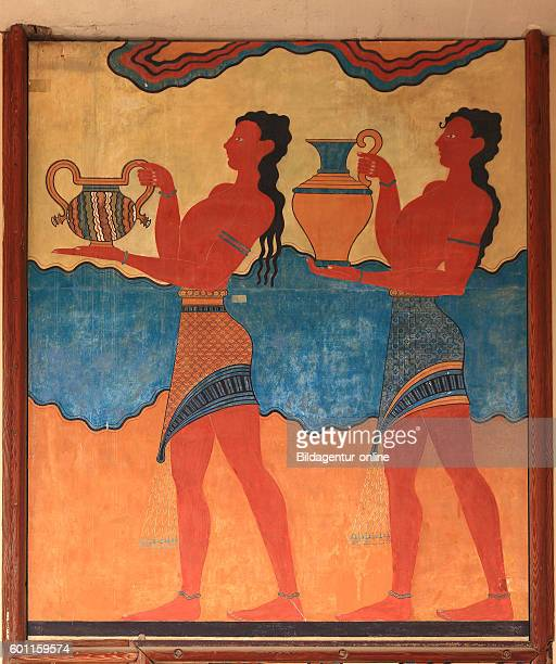 Crete Knossos palace complex of the Minoer part of the arrangement wall paintings