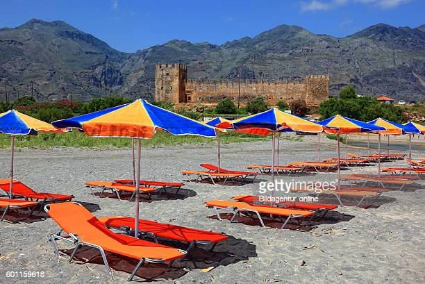 Crete look of beach on the fortress Frangokastello on the south coast of the Mediterranean island in the background the Kryoneritis mountains deck...