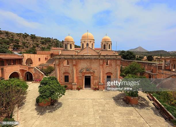 Crete peninsula Akrotiri Moni Agada Triada cloister of the holy Trinity cross dome church