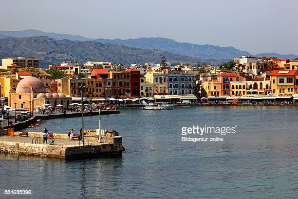 Crete port Chania look at the Old Town in the harbour and the Janitscharen mosque