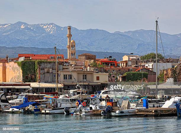 Crete port Chania Old Town boats in the Venetian harbour