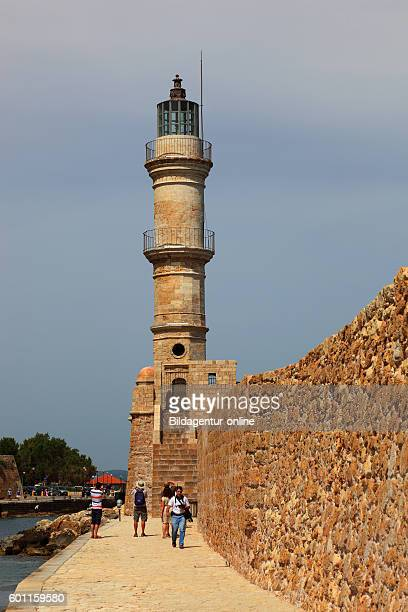 Crete port Chania Venetian lighthouse in the harbour