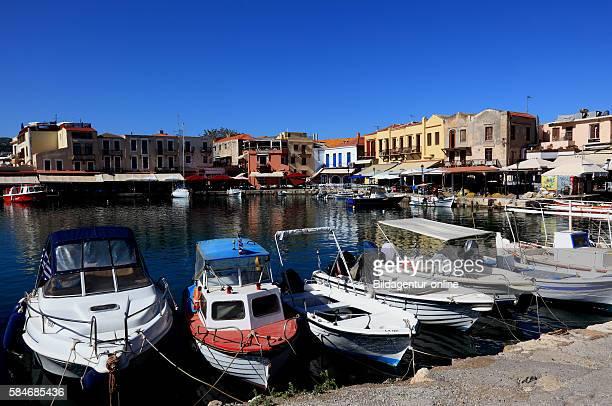 Crete port Rethymno boats in the Venetian harbour