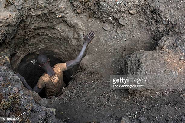 A creuseur or digger descends into a copper and cobalt mine in Kawama Democratic Republic of Congo on June 8 2016 Cobalt is used in the batteries for...