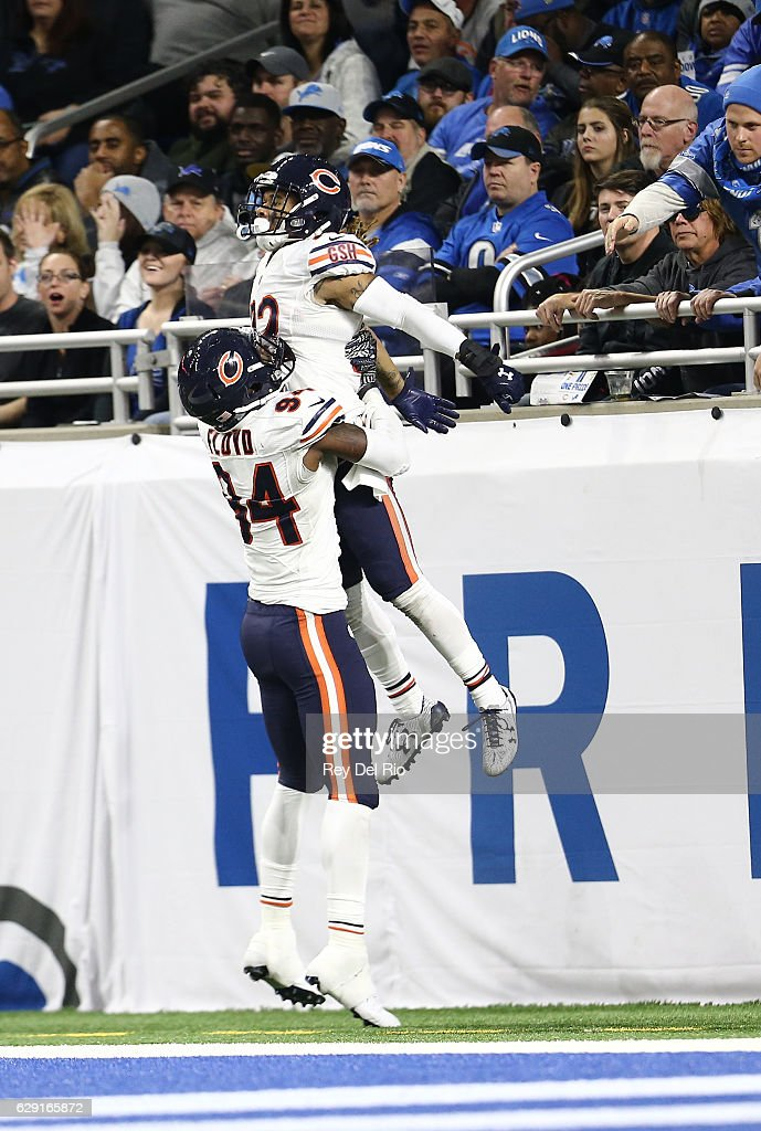 Cre'von LeBlanc #22 of the Chicago Bears celebrates his interception and touchdown in the fourth quarter during the game against the Detroit Lions at Ford Field on December 11, 2016 in Detroit, Michigan.