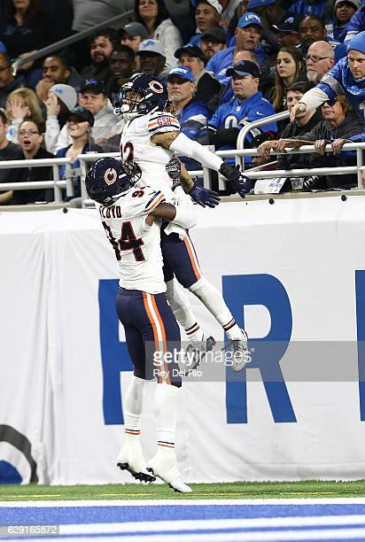 Cre'von LeBlanc of the Chicago Bears celebrates his interception and touchdown in the fourth quarter during the game against the Detroit Lions at...