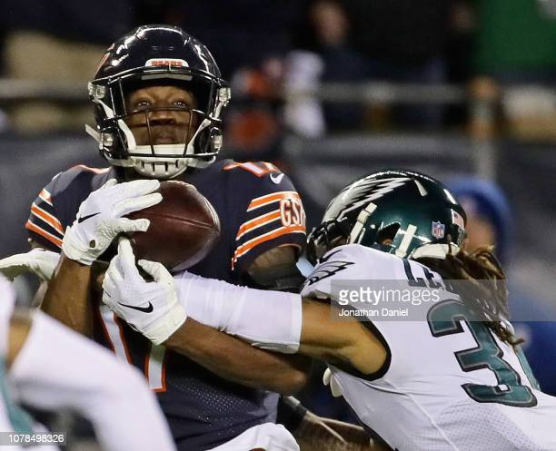 Cre'Von LeBlanc of the Phildelphia Eagles beaks up a pass to Anthony Miller#17 of the Chicago Bears during an NFC Wild Card playoff game at Soldier...