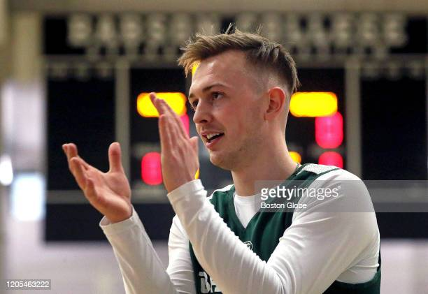 Crew Ainge son of Celtics president Danny Ainge participates in practice for his Babson College basketball team in Wellesley MA on March 4 2020 They...