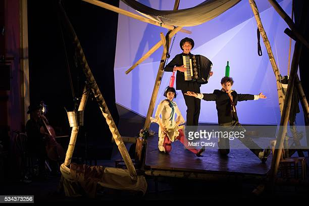 Crew and cast take part in a rehearsal of The Flying Lovers of Vitebsk which is part of the Bristol Old Vic's 250th anniversary season, on May 25,...