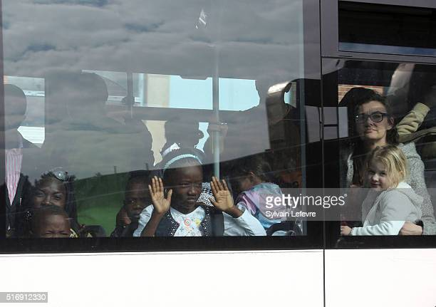Crew and passengers are evacuated by bus from Zaventem Bruxelles International Airport after terrorist attacks on March 22 2016 in Brussels Belgium...