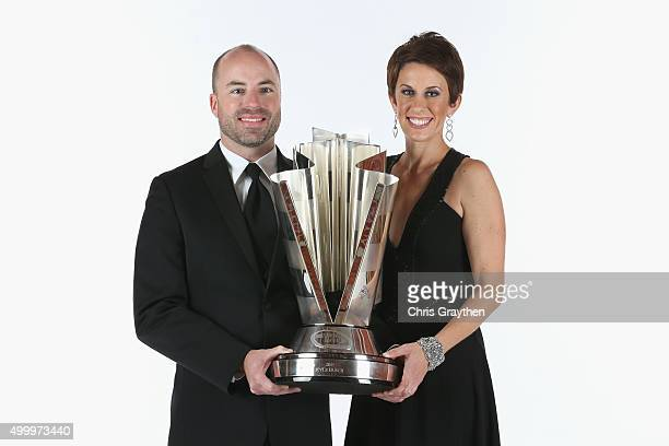 Crew chief Adam Stevens and wife Aubrey pose for a portrait during the 2015 NASCAR Sprint Cup Series Awards at Wynn Las Vegas on December 4 2015 in...