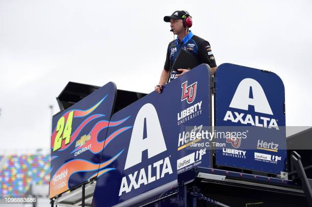 Crew chief Chad Knaus looks on during practice for the Monster Energy NASCAR Cup Series 61st Annual Daytona 500 at Daytona International Speedway on...