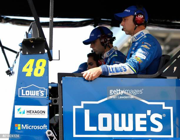 Crew chief for Jimmie Johnson driver of the Lowe's Chevrolet Chad Knaus looks on during the Monster Energy NASCAR Cup Series Brickyard 400 at...