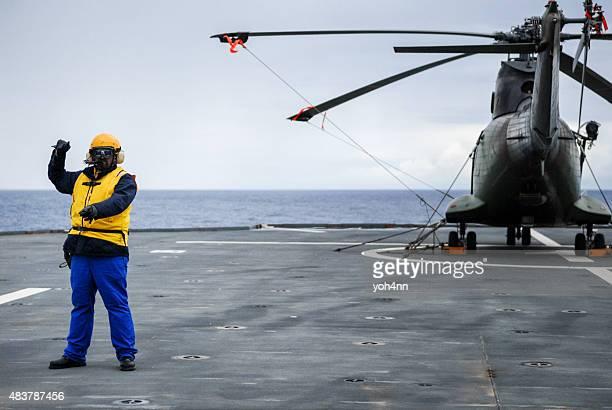 Crew chief in Heliport