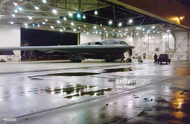 Crew chiefs from the 509th Aircraft Maintenance Squadron Red Flight prepare the B2 'Spirit of Mississippi' for take off and deployment at Whiteman...