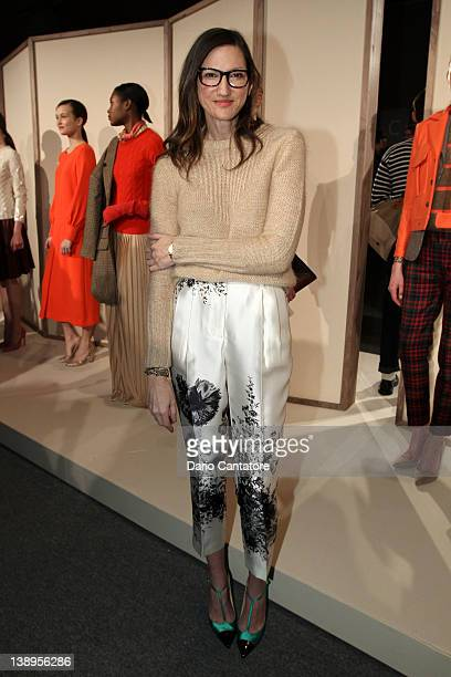 J Crew Creative Director Jenna Lyons poses on the runway at the JCrew Fall 2012 Presentation during MercedesBenz Fashion Week at Lincoln Center on...
