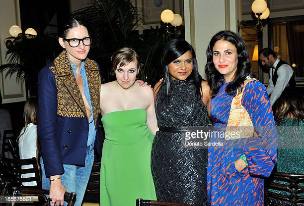 J Crew creative director Jenna Lyons writer Lena Dunham actress Mindy Kaling and producer Jennifer Konner attend a dinner to celebrate the 2013...
