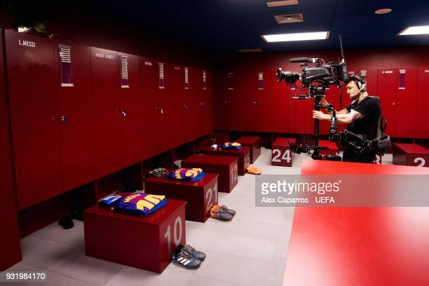 TV crew films inside of the FC Barcelona dressing room before the UEFA Champions League Round of 16 Second Leg match between FC Barcelona and Chelsea...