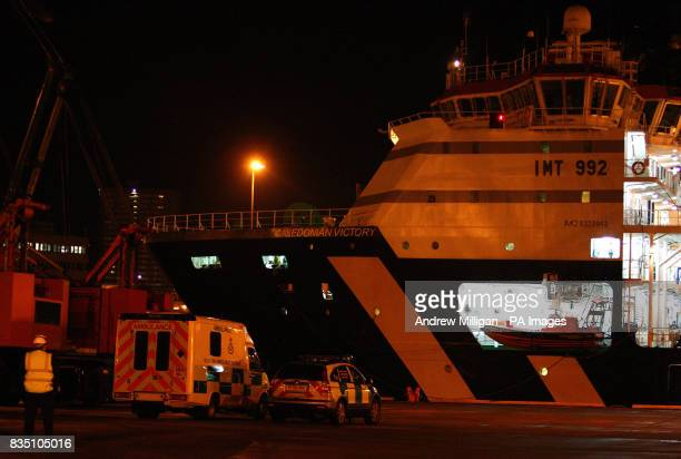 Crew from a helicopter which ditched near a North Sea platform arrive back at Aberdeen Harbour this morning