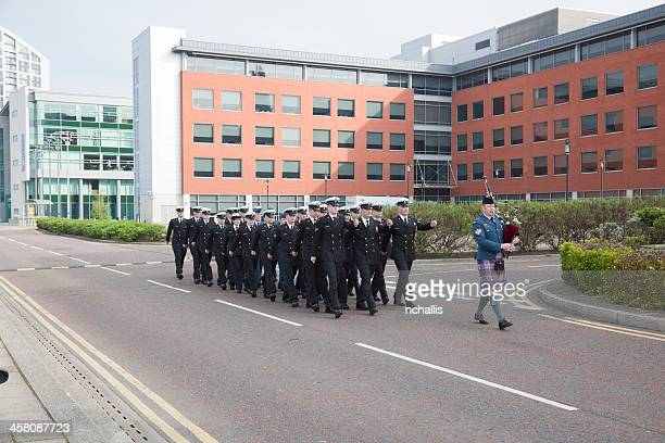 crew from hmcs athabaskan marching - athabaskan stock pictures, royalty-free photos & images