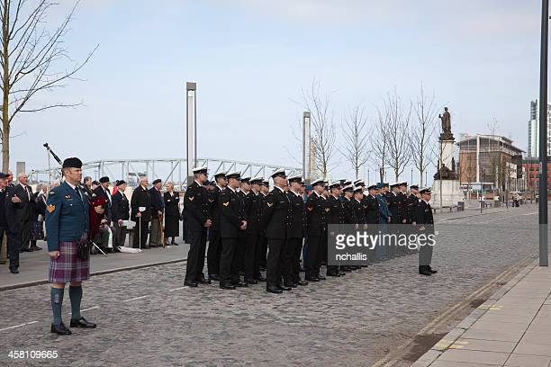 crew from hmcs athabaskan pier head liverpool - athabaskan stock pictures, royalty-free photos & images