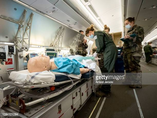 Crew from the French Air Force train onboard an Airbus 330 MRTT in a 'Morphee' configuration, in preparation for the evacuation of a Covid-19 patient...