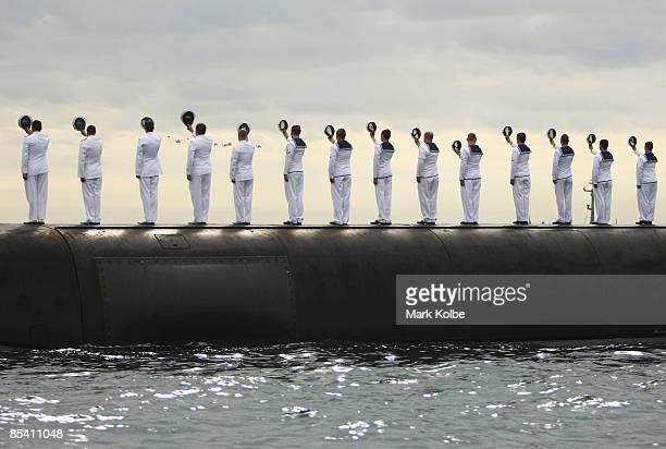 Crew from the HMAS Collins greet The Governor of NSW, Marie Bashir with three cheers during a ceremonial exercise involving The Royal Australian...