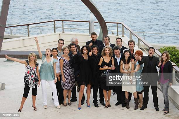 TF1 crew including the cast of Mystere with actors Marisa Berenson Lio Arnaud Binard Toinette Laquiere and Babsie Steger at photo call for the film's...