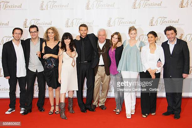 TF1 crew including the cast of Mystere with actors Marisa Berenson Lio Arnaud Binard Toinette Laquiere and Babsie Steger at photo call