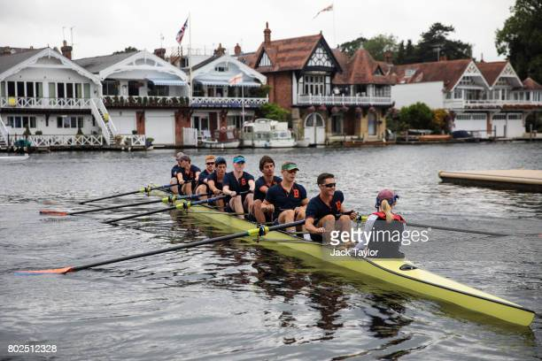 A crew makes their way to the start line ahead of a race at the Henley Royal Regatta on June 28 2017 in HenleyonThames England The five day Henley...