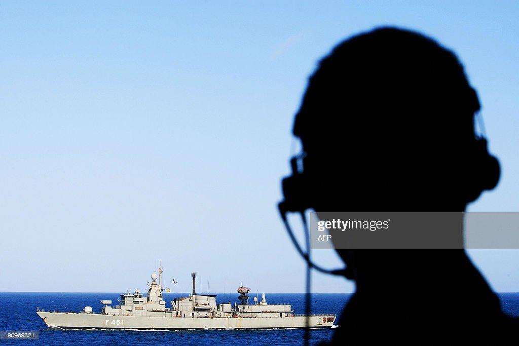 A crew member from the Dutch frigate Hr. : News Photo