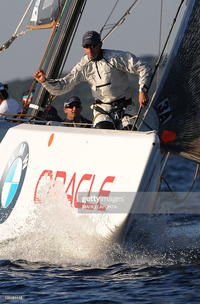 Crew member of British TeamOrigin take part in a match race regatta of the Louis Vuitton Trophy on May 24, 2010 at La Maddalena island in Sardinia. 10 teams battle it out over a two-week regatta begun on May 22 until June 6, 2010.