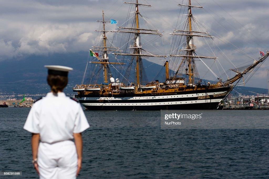 Crew member of Italian sailing ship Amerigo Vespucci in Naples, Italy, October on 06, 2017.