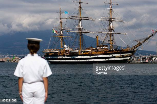Crew member of Italian sailing ship Amerigo Vespucci in Naples Italy October on 06 2017
