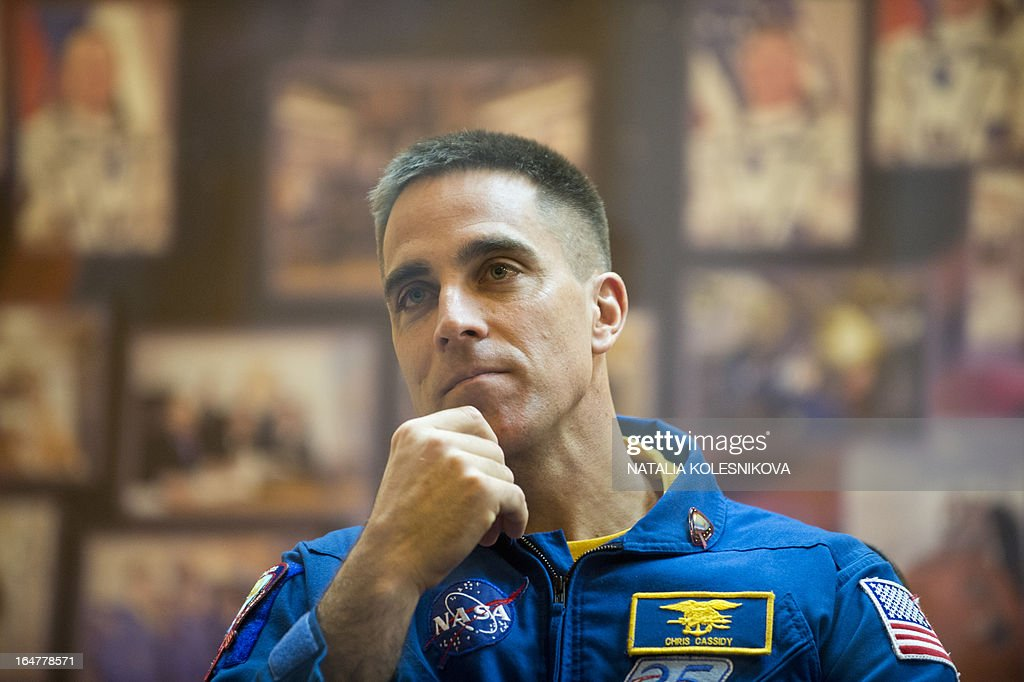 Crew member of the next expedition to the International Space Station (ISS), US astronaut Christopher Cassidy attends a press conference at the Russian leased Kazakhstan's Baikonur cosmodrome, on March 27, 2013. The launch of the Soyuz TMA-08M spacecraft with Cassidy, Vinogradov and Misurkin aboard is scheduled on March 29.