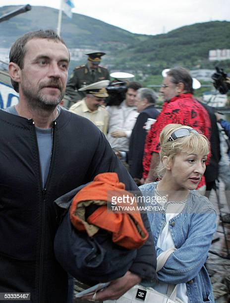 A crew member of the Russian minisubmarine AS28 Priz arrives at PetropavlovskKamchatsky port 07 August 2005 Seven Russian sailors trapped for three...