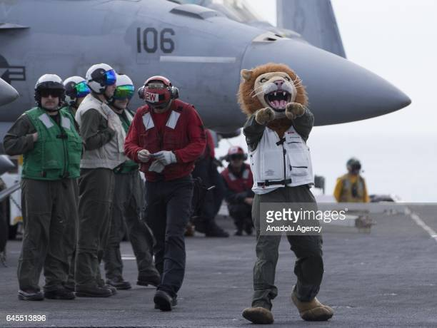 A crew member wearing a lion mask stands on the flight deck of US aircraft carrier USS George Washington during its mission in the eastern...