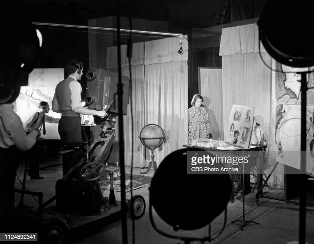 Crew members are photographed during television production on the CBS sets at the Grand Central Terminal studios in New York City. Image dated:...
