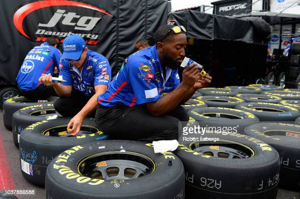 Fans gather in the parking lot prior to the Monster Energy NASCAR Cup Series Federated Auto Parts 400 at Richmond Raceway on September 22 2018 in...